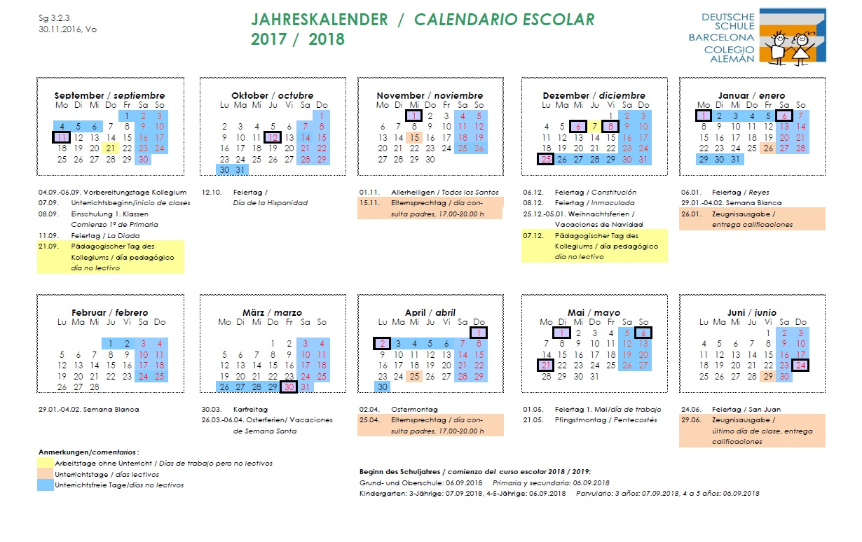 Calendario del 2019 for Del website